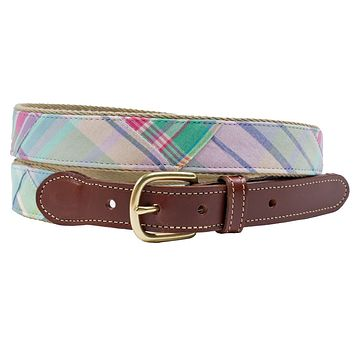 Looking Glass Patch Madras Leather Tab Belt by Country Club Prep