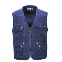 Men's Denim Outdoor Cycling Climbing Hunting Fishing Pockets Vest