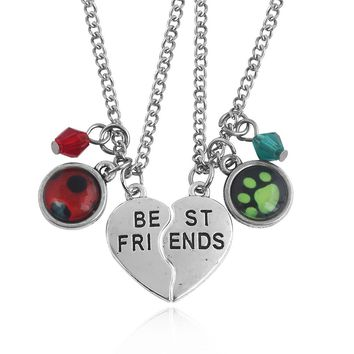 Miraculous Ladybug series Necklace Cute Ladybug Cat Noir with Best Friends Letter Couple Heart Pendant Jewelry Gifts for friends