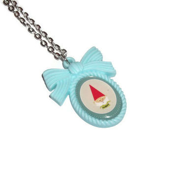 Gnome Necklace, Mint Green Cameo Necklace