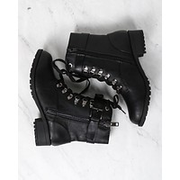 Strappy Lace-Up Boots in Black