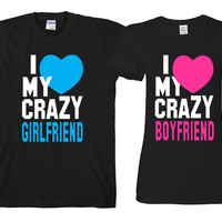 """I Love My Crazy BF - I Love My Crazy GF  """"Cute Couples Matching T-shirts"""""""