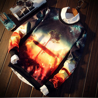 New men sport coat Space/galaxy 3d sweatshirt men 3d hoodies fashion harajuku style funny print nightfall trees