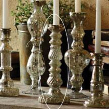 """Antiqued Silver Glass Taper Candle Holder 11.5"""""""