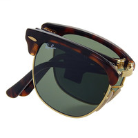 Ray Ban Folding Clubmaster RB2176 990 Tortiose/Crystal Green Lens 51mm Sunglassess