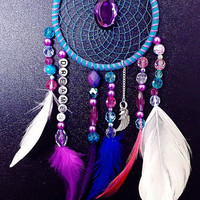 Dreamcatcher, bohemian dreamcatcher, bohemian decor, purple and blue dreamcatcher, boho wall hanging, feather dreamcatcher,OOAK