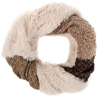 Sakkas Julie Short Wrap Around Two Sided Faux Fur And Ribbed Knit Infinity Scarf