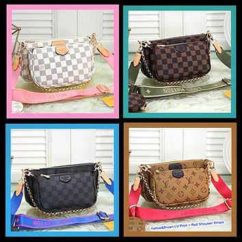 LV Bag Louis Vuitton Classic Women Leather Handbag Tote Shoulder Bag Satchel Three-Piece Available in 36 colors