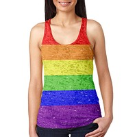 Distressed LGBT Rainbow Gay Pride Flag Juniors Burnout Racerback Tank Top