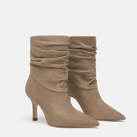 RUCHED LEATHER HEELED ANKLE BOOTSDETAILS