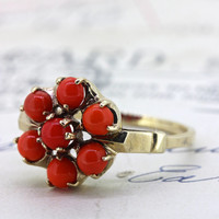 Antique Victorian Coral Ring | Rose Gold Wedding Ring | Alternative Engagement Ring | 1900s Promise Ring | Gemstone Cocktail Ring |Size 6.25