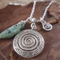 SPIRAL & TURQUOISE long necklace with Tibetan by AsaiBolivien
