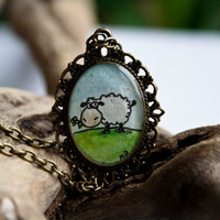 Sheep necklace Hand painted Original OOAK watercolor by TraBan