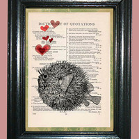 Ocean Blowfish with Red Heart Bubbles - Vintage Dictionary Book Page Art Print, Upcycled Page Art Print on Dictionary Page, Fish Print