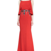 Off-Shoulder Jeweled Gown, Lava Red