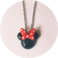Handmade Minnie Mouse Necklace with Red Bow and Polka Dots Disney Jewelry