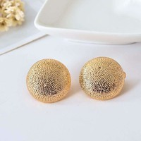 Hammered Gold Dome Clip-On Earrings for Women