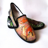 Personalized handpainted shoes Wild Nature, bear and fox, custom animals sneakers