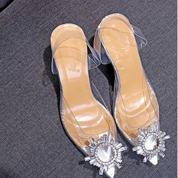 The new style goes with transparent stiletto heels shoes
