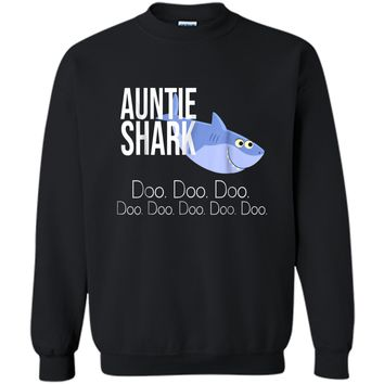 """""""Auntie Shark"""" Baby Mommy Daddy Matching Family Shark  Printed Crewneck Pullover Sweatshirt"""