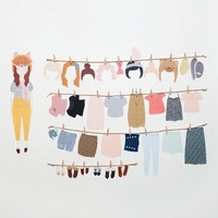 Wall stickers Paper Doll (Reusable and removable fabric interactive wall decals, not vinyl) - Dress Up Doll