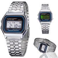 Women Retro Stainless Steel LCD Digital Sports Stopwatch Watch Silver