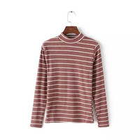 Casual Striped Print  Long Sleeve Turtleneck Sweater