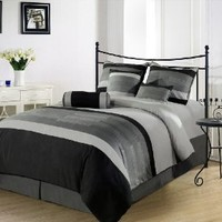 Chezmoi Collection 6-Pieces 3-Tone Embroidery Comforter Set/Bed-in-a-Bag, Twin, Black/Gray