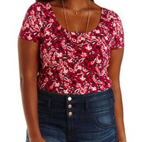 Plus Size Teaberry Cmb Lace-Back Floral Crop Top by Charlotte Russe