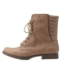 Taupe Quilted Lace-Up Combat Booties by Charlotte Russe