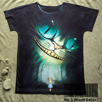 Track Ship+New Vintage Retro T-shirt Top Tee Smile Tooth Ghost Cheshire Cat Alice Alice's Adventure in Wonderland 0444