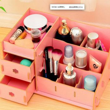 Wood Cosmetic Storage Box Desk Cantainer Drawer Multi Layers Jewelry Organizer L