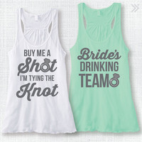 """Bachelorette Party Tank Top Bridal Party Tank Top Rhinestone Ring """"Buy Me A Shot I'm Tying the Knot"""" and """"Bride's Drinking Team"""" XS-XXL"""