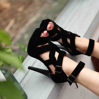 Summer New Roman Sandals Cross Straps Shoes Fish Head High-heeled Shoes