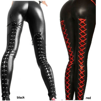 Sexy Black Ladies Lace Up Metallic Leather Leggings = 1932793156