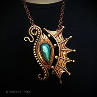 The Eye Of The Dragon Bronze Necklace Pendant With Flashy Labradorite