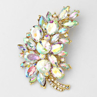 Crystal Bush Leaf Pin Brooch/ Brooches