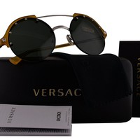 Versace VE4337 Sunglasses Yellow w/Green Lens 525271 VE 4337