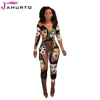 Jahurto Sexy Club Jumpsuits Fashion Figure Head Emoji Pritned O-Neck Long Sleeve Jumpsuit Sexy Rompers Womens Jumpsuit