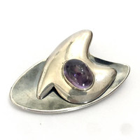 Sigi Pineda Modernist Brooch, Sterling Silver & Amethyst, Abstract, Neillo Enamel, Taxco Master Silversmith, Signed, Vintage Gift for Her