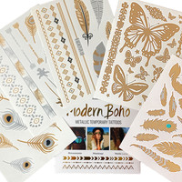 Fly High Collection Metallic Tattoos Gold and Silver Flash By Modern Boho