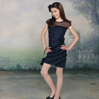 A-Line Cap Sleeve Taffeta And Tulle Bateau Neckline Accented Ruffled Flower Girl Dress - Basadress.com