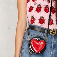 Vintage Moschino My Heart's in It Leather Crossbody Bag