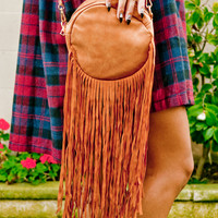 Tan Fringe Shoulder Purse