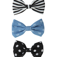 LOVEsick Polka Dot Stripe Anchor Hair Bow 3 Pack