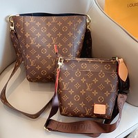 Hipgirls LV Louis Vuitton Hot Sale New Women's Printed Letter Two-Piece Crossbody Bag