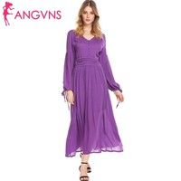 ANGVNS Women V-Neck Lantern Sleeve Maxi Dress 2018 Spring Autumn Party Button Front Ruched Waist Casual Dresses Femme Vestidos