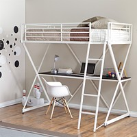 Modern Twin size Bunk Bed Loft with Desk in White Metal Finish