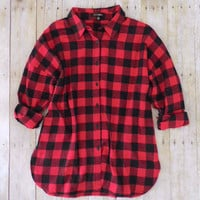 Northern Red & Black Plaid Flannel Shirt [7407] - $27.00 : Feminine, Bohemian, & Vintage Inspired Clothing at Affordable Prices, deloom