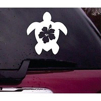 Turtle and Hibiscus Decal Sticker Vinyl Decal Sticker Laptop Car